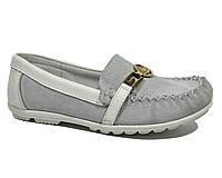 Мокасины кожаные для девочек подростковые, Calorie white-gray, 31-36