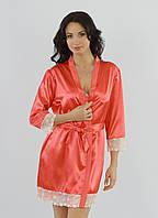 Пеньюар  и сорочка, комплект женский коралловый, ТМ Ksena