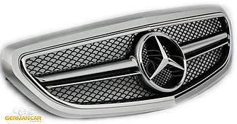 Решетка радиатора Mercedes W212 рестайл стиль AMG (серебро + хром)