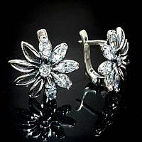 Крупные серебряные серьги Цветы