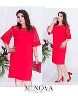 Нарядное платье прямого пошива большого размера, укороченный рукав, кружево ТМ Minova (50,52,54,56)