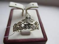 """Серебряное кольцо с золотыми вставками """"Корона """""""