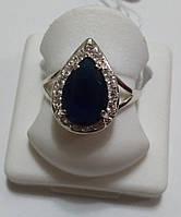 Серебряное кольцо Анастасия с имитацией сапфира, фото 1