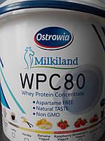 Протеин сывороточный Ostrowia WPC 80 ведерко 1.5 кг оригинальный (Milkiland; Польша) клубника