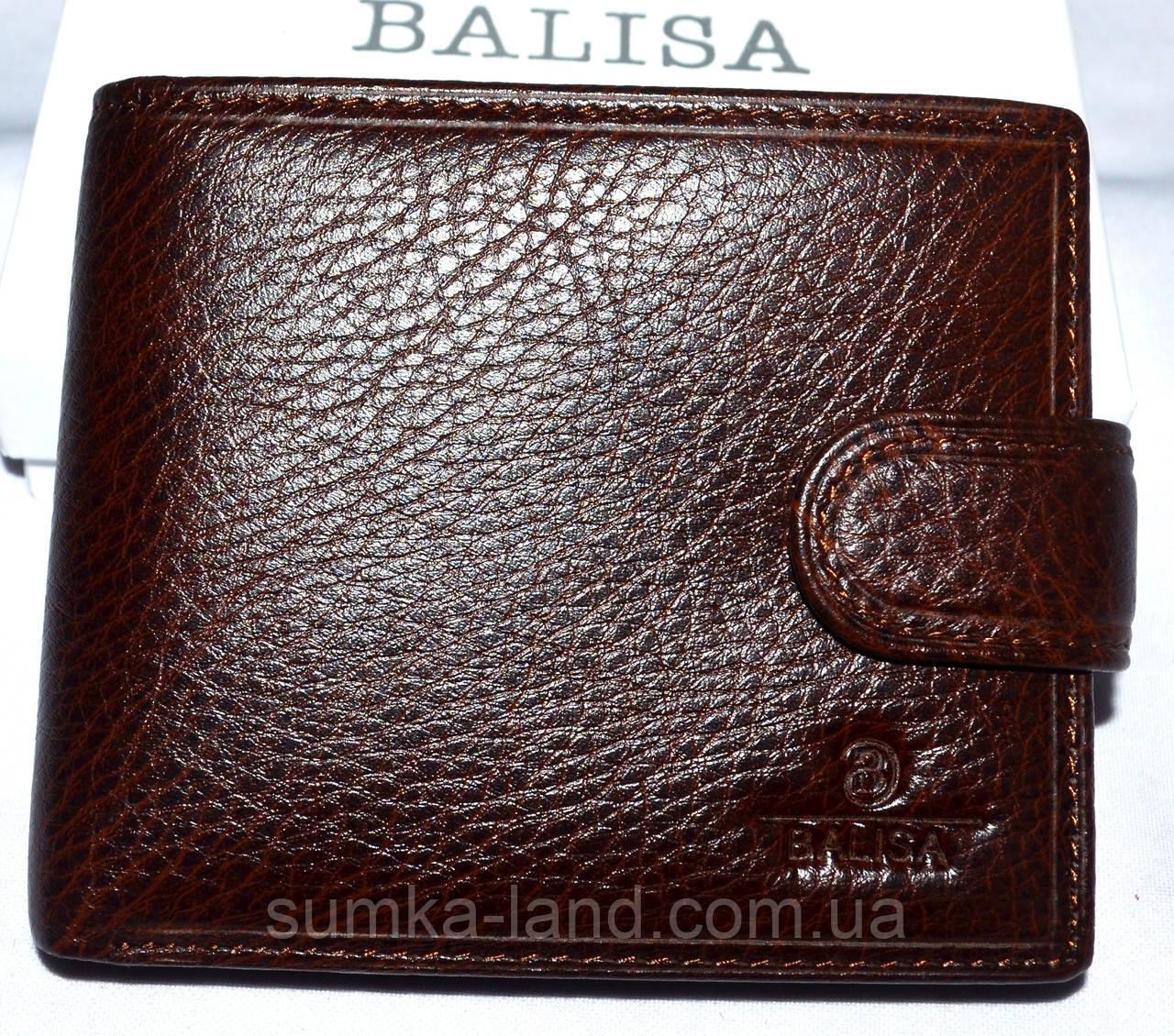 Мужской горизонтальный каштановый кошелек из натуральной кожи Balisa 11,5*10 см