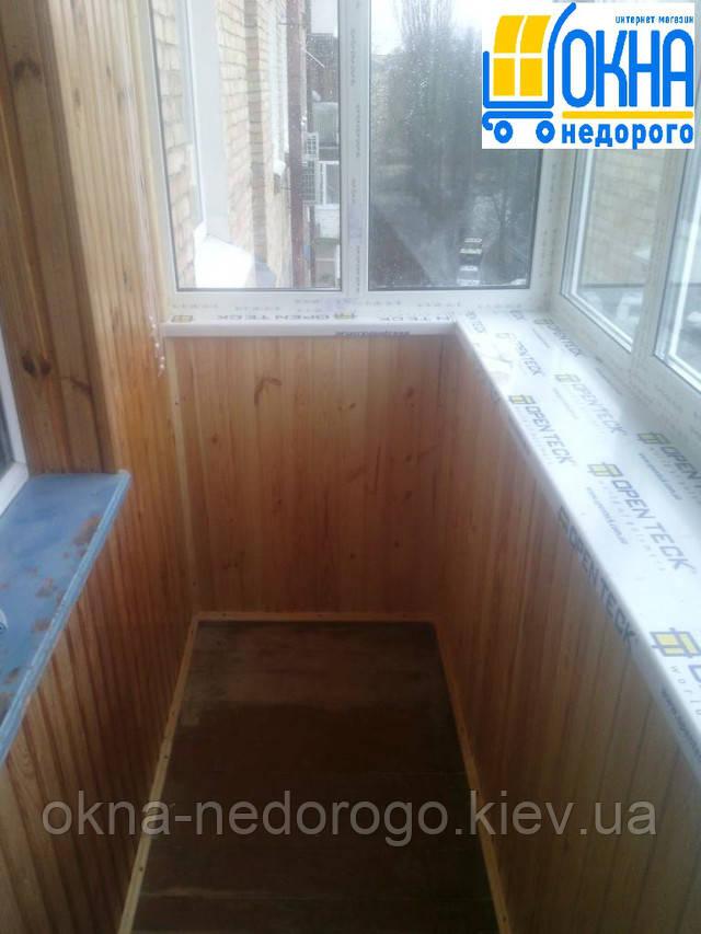 Балкон под ключ, отделка балкона деревянной вагонкой