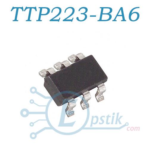 TTP223-BA6, контроллер датчика касания, SOT23-6