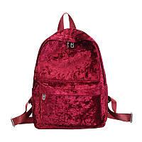 Рюкзак женский городской вместительный бархатный (бордовый), фото 1
