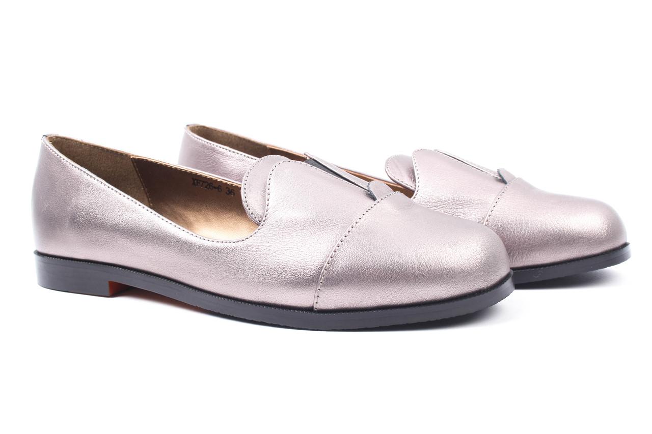 Туфли женские Reuchll натуральная кожа, цвет бронза (каблук, стильные, комфорт)