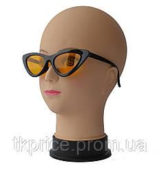 """Женские солнцезащитные очки сонцезахисні окуляри """"лисички"""" черные с желтыми линзами"""