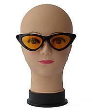 """Женские солнцезащитные очки сонцезахисні окуляри """"лисички"""" черные с желтыми линзами, фото 2"""