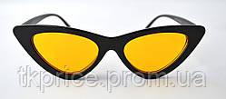 """Женские солнцезащитные очки сонцезахисні окуляри """"лисички"""" черные с желтыми линзами, фото 3"""