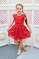 Детское платье для девочки Розалина р.110-128 красный