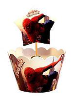 """Топперы  для капкейков в стиле  """" Человек паук """" 10 + 10 шт."""