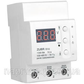 Реле контроля напряжения ZUBR D32t (Автомат напряжения) Защита от скачков напряжения ЗУБР
