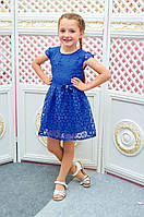 Детское платье для девочки Розалина р.110-128 электрик