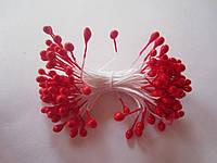 Тычинки для цветов круглые,  упаковка - 50 шт. (пучок из 25 двухсторонних нитей) Красные
