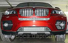 Декоративно-защитная сетка радиатора BMW X6 E71 фальшрадиаторная решетка (ноздри)