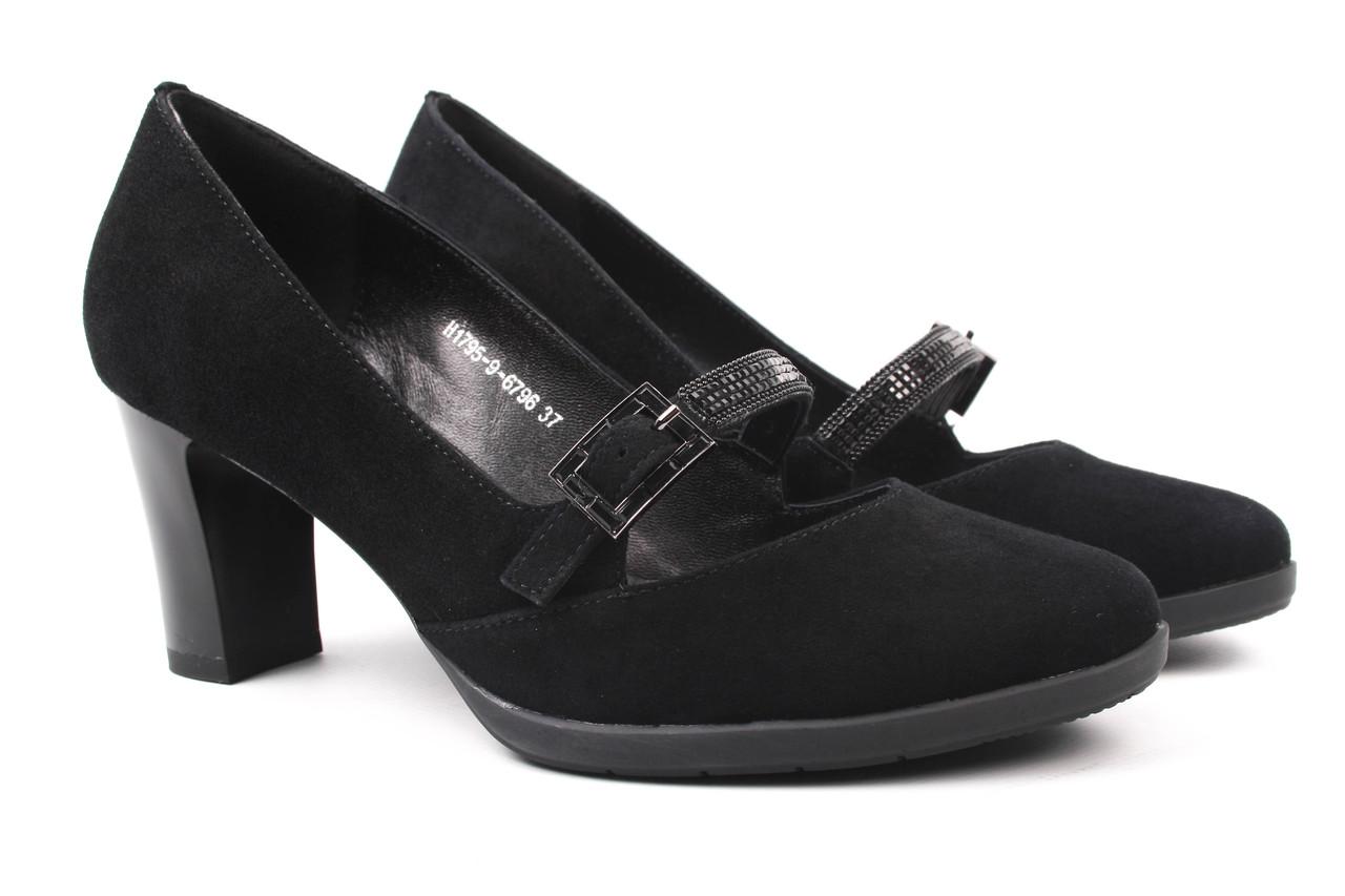 Туфли женские Polann натуральный замш, цвет черный (каблук, стильные)