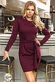 Женское платье бордового цвета с поясом. Модель 17332. Размеры 42-46