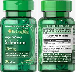 Puritan's Pride, Селен, 200 мкг, 100 таблеток