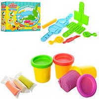 Пластилин MK 0134  6цветов(баноч с крыш3шт+3шт в кульк),вафельница,формочки,в кор-ке,24-18-6см