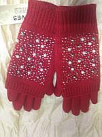 Перчатки красные трикотажные на байке сенсорные с митенками в бусинках