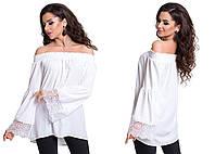 Белая шелковая блуза с открытыми плечами и кружевом на рукаве. Арт-4071/80