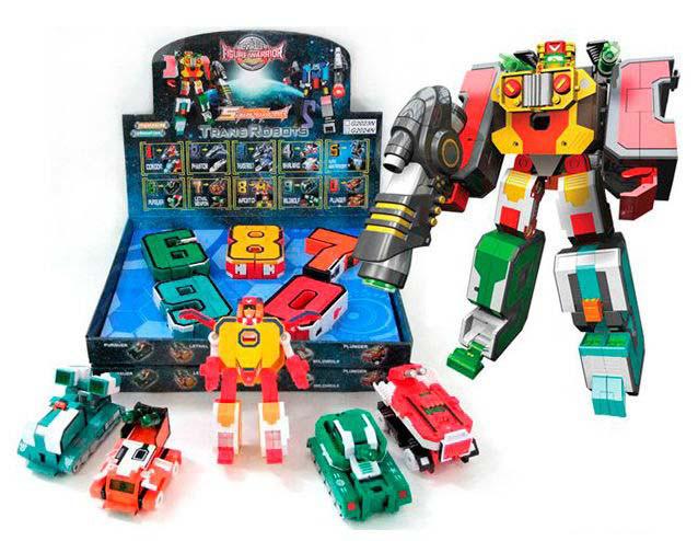 """Набор трансформеров """"Цифры"""" 6,7,8,9,0 (Трансформеры """"Trans Robots""""), цена за блок 5 шт, G2024N"""