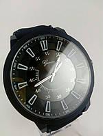 Часы наручные, Цвет черный, Ремешок, Метки, Черный циферблат, Geneva., фото 1