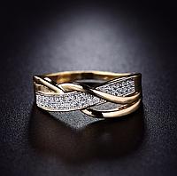 Позолоченное кольцо женское с кристаллами р 16 18 19 код 1366