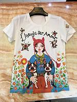 Женская футболка трикотаж с цветами