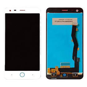 Дисплей (экран) для ZTE Blade S6 Plus с сенсором (тачскрином) белый Оригинал