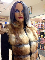 Жилетка з лисички з шкіряними вставками з боків і утяжкой