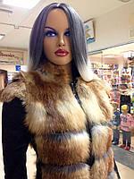 Жилетка з лисички з шкіряними вставками з боків і утяжкой, фото 1