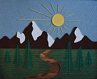 Картина String Art Гірський пейзаж Горный пейзаж 50х60 см, 80х100 см