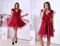 Интересное и нарядное, женское платье из трикотажа масло и фатина. 42-60р РАЗНЫЕ ЦВЕТА