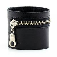 Мужской широкий кожаный браслет Scappa A-100 чёрный