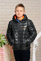Весенне-осенняя куртка «Жан-6» для мальчика 11-15 лет (весна 2018, р. 40-48 / 146-170 см) ТМ MANIFIK Черный