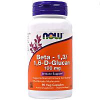 Now Foods, Бета-1,3/1,6-D-Глюкан, 100 мг, 90 вегетарианских капсул.