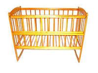 Детская деревянная кровать-качалка для новорожденных с открывающим боком (на полозьях, 120х60, ольха) ТМ ViKIDim