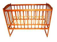 Деревянная кроватка на полозьях для новорожденных (классическая, темная ольха, 120х60) ТМ ViKIDim