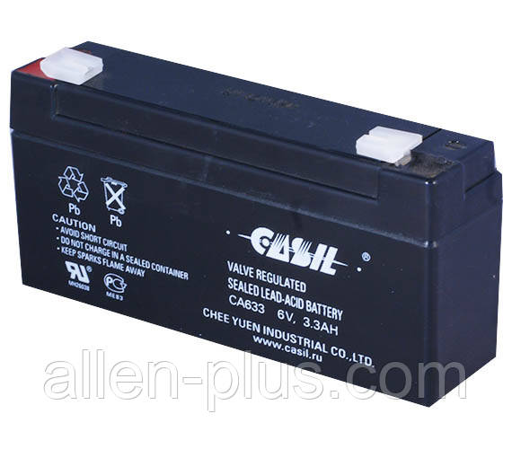 Аккумулятор свинцово-кислотный CASIL CA633, 6V / 3.3A (или 3.2А)