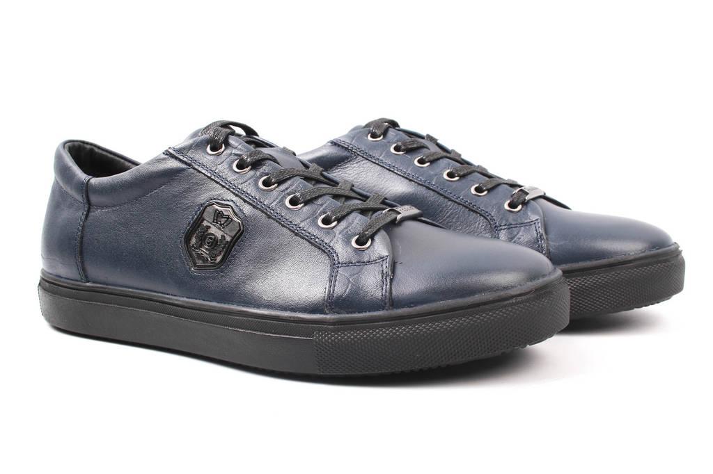 Туфли мужские Mida натуральная кожа, цвет синий (мокасины, платформа, весна\осень)