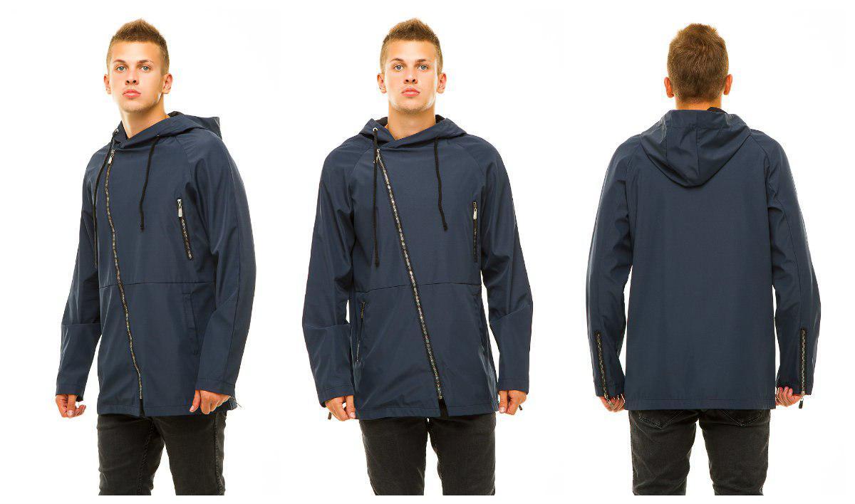 Куртка парка мужская из плащевки с молнией наискосок