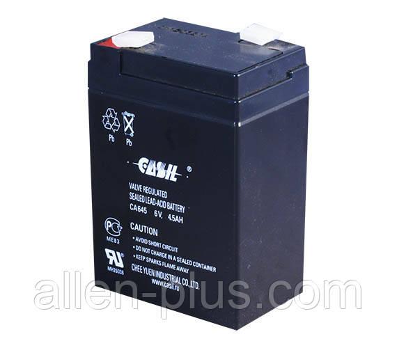 Аккумулятор свинцово-кислотный CASIL CA645, 6V / 4.5A