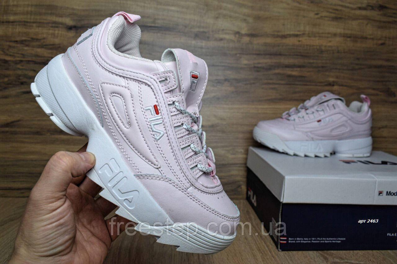 Женские кроссовки в стиле Fila Disruptor 2 розовые кожа - Интернет-магазин