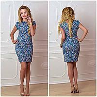 Платье, модель 716, цвет - джинс в цветок, фото 1