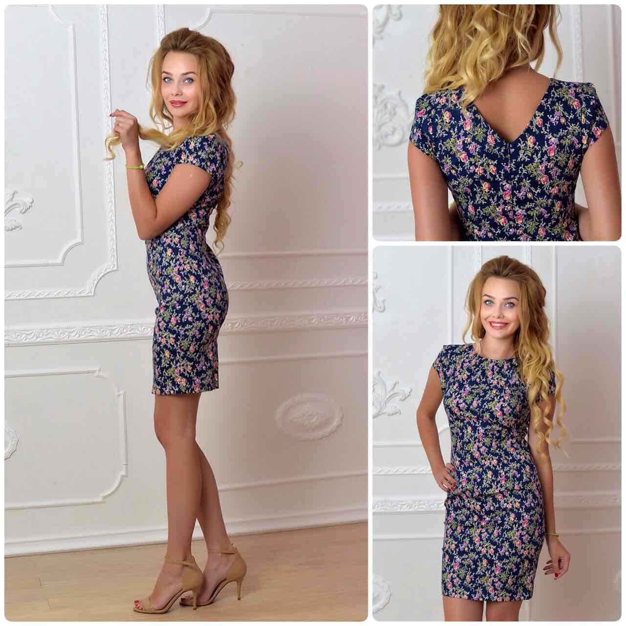 Платье, модель 716, цвет - синий в цветок