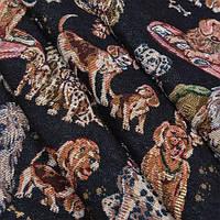 Гобелен ткань, животные, чёрный